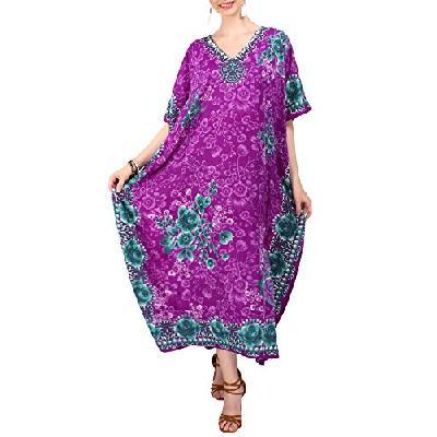 7ad6ddb86f9 Miss Lavish London Femmes Kaftan Tunique Kimono Grande taille Robe pour  Loungewear Vacances Nuit Vêt