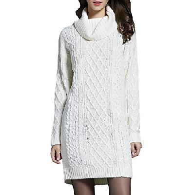 Anyu Femmes Casual Pull en Vrac Manches Longues Col Haut Mince Loose Pull Sweater Robe en Tricot Bla