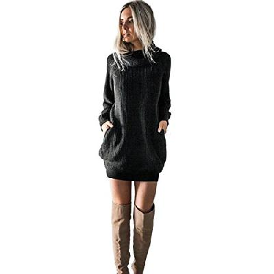 Autumnwind Femmes Robe Mode en Maille col roulé Robe Pull Dames Mini Robe
