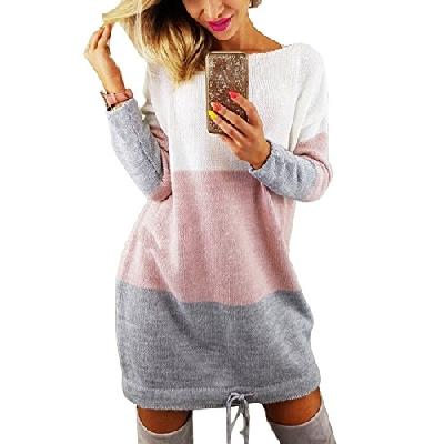 Minetom Automne Hiver Femme Pull Robe Col Rond Manche Longue Sweater Mini Tricot Robe Pullover Blous