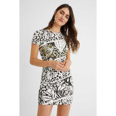 Robe courte robe chasuble animal print - WHITE - XL