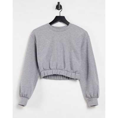 Pull&Bear - Sweat-shirt court doux au toucher (pièce d'ensemble) - Gris
