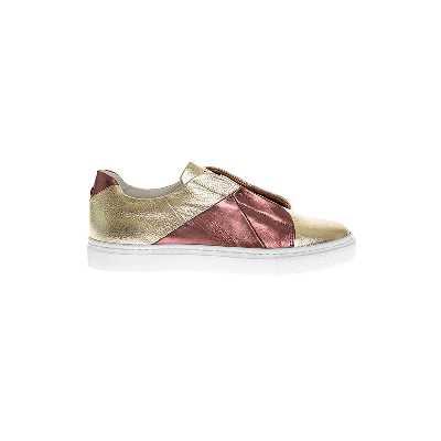 Sneakers Derbies cuir bimatière bicolores 34 platine