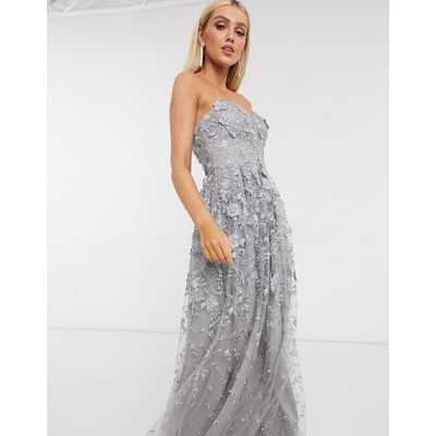 Bariano - Robe style robe de chambre motif fleurs 3d - Gris