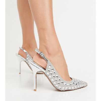 ASOS DESIGN - Walked - Chaussures pointure large ornementées à talon haut et bride talon - Argenté