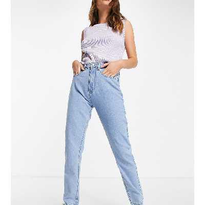 Daisy Street - Jean mom en jean délavé-Bleu