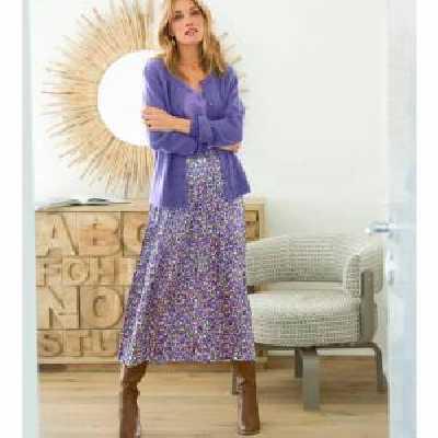 Jupe plissée satin imprimé - noir & violet - Taille : 52 - Blancheporte