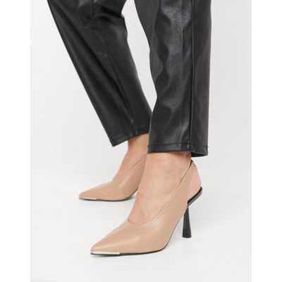 ASOS DESIGN - Scotch - Chaussure à talon mi-haut avec empeigne haute et bride talon - Beige chaud-