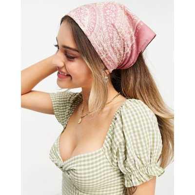 Pieces - Foulard carré en satin à imprimé foulard - Rose-Multicolore