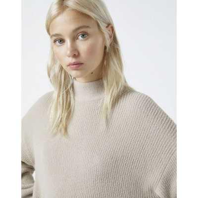 Pull&Bear - Pull col montant doux au toucher - Taupe-Beige