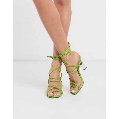 Truffle Collection - Sandales à talons avec liens à nouer aux chevilles et talons transparents -