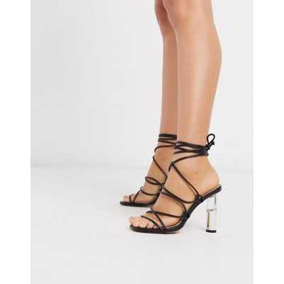 Truffle Collection -Sandales à talons avec liens à nouer aux chevilles et talons transparents -