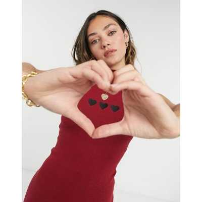 Heartbreak - Robe d'ensemble en maille à col montant en maille et broderie cœur - Vin-Rouge