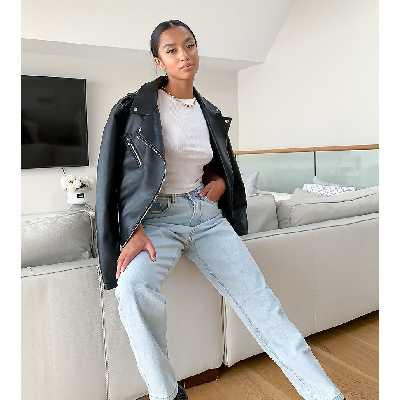 Missguided Petite - Riot - Jean mom taille haute en jean recyclé - Bleu