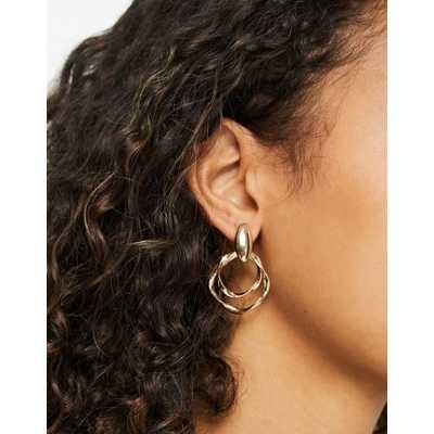Accessorize - Boucles d'oreilles à pendant créole double torsadé - Doré