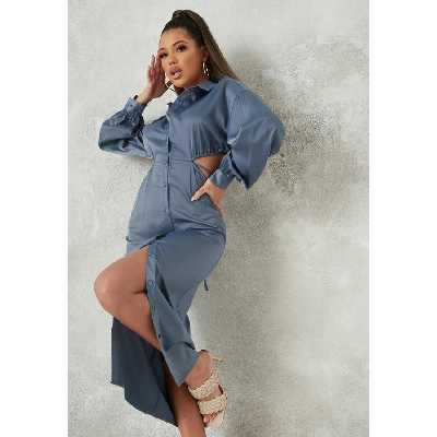 Bleu ardoise Robe Chemise Mi-Longue en Satin Bleu avec Découpe