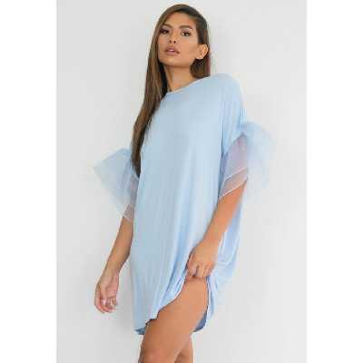 Bleu givré Robe T-Shirt en Organza Bleu à Manches Volantées