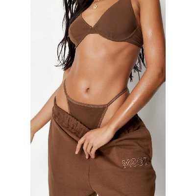 Nude Brown String Ficelle en Tulle Brun Nude Double Épaisseur