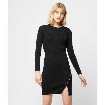 Robe pull fendue - JORA PULL - L - Noir - Femme - Etam