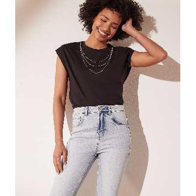 T-shirt avec collier amovible - Collier - XS - Noir - Femme - Etam