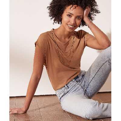 T-shirt avec collier amovible - Collier - XS - Marron - Femme - Etam