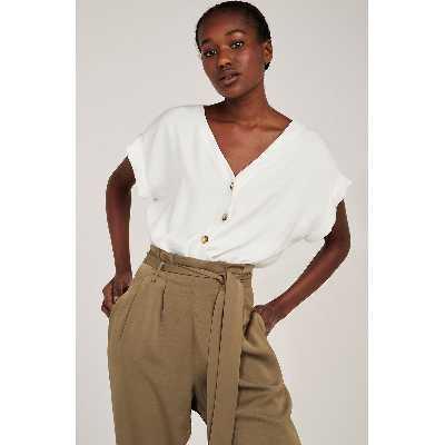 Combi-pantalon, top col v, pantalon paperbag