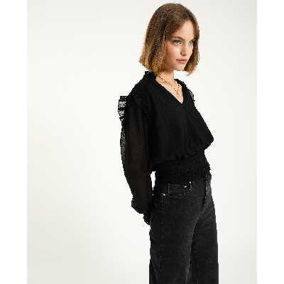 Blouse plumetis Femme - Couleur noir - Taille XS - PIMKIE - MODE FEMME