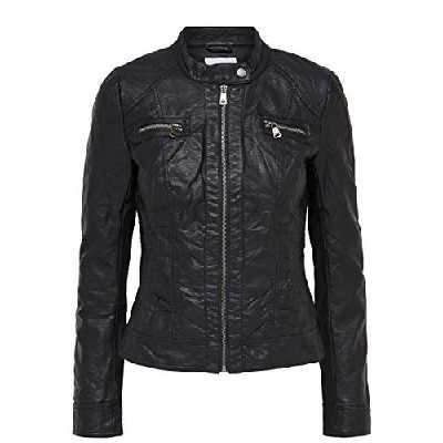 ONLY Damen Jacke BANDIT PU BIKER NOOS, FR: 38 (Taille fabricant: 36), Noir (Black C-N10)