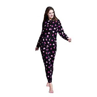AIREE FAIREE Grenouillères Femme Combinaison Pyjama à Capuche en Polaire Onesies (EU 40-42, Motif Coeur Noir)