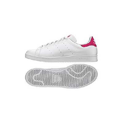 adidas Stan Smith J, Baskets Mixte Enfant, Cloud White/Cloud White/Bold Pink, 38 EU