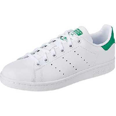 adidas Originals Stan Smith J, Baskets Mixte, Footwear White/Footwear White/Green, 37 1/3 EU