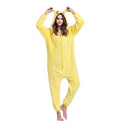 Yimidear Unisexe Hot Adulte Pyjamas Cosplay Costume d'animal Onesie de nuit de nuit,S,Jaune