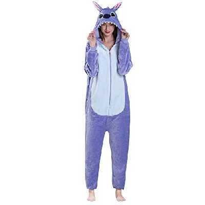 Yimidear® – Pyjama/grenouillère à capuche en flanelle, unisexe pour adultes et enfants, violet, Small
