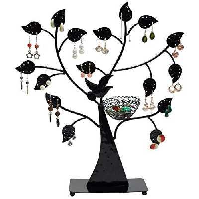 Porte bijoux en forme d'arbre - Noir environ 43 x 39 x 8 cm - Porte bijoux rangement et présentationn joyaux - Grinscard