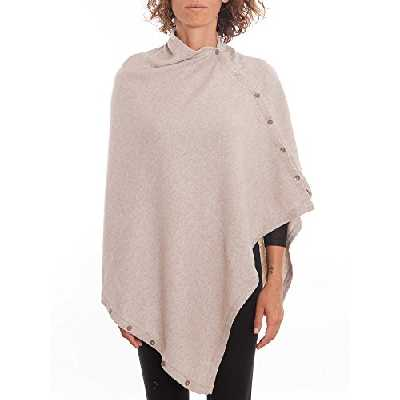 DALLE PIANE CASHMERE - Poncho avec boutons en cachemire mélange - Femme, Couleur: Beige, Taille unique