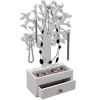 Arbre pour bijoux présentoir de boucles blanc