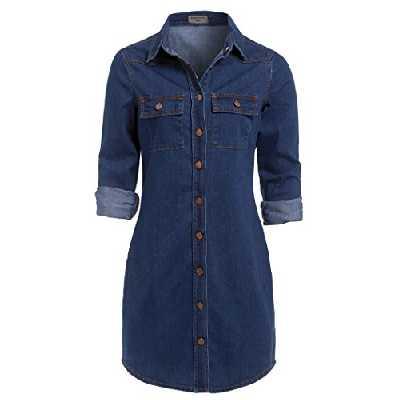 SS7 Neuf Rétro Bleu Denim Robe Chemise Sizes 6-16 - Jean Vintage, 42