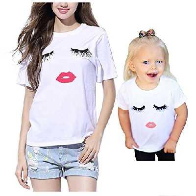 iMixCity Famille T-Shirt Amour Correspondant Cils Lèvres Rouges Imprimé A Manches Courtes Tops pour Mère Fille