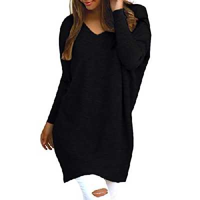 Style Dome Femme Oversize Pull Tops Col V Manches Longues Casual Shirt Robe Tunique Blouse, Un Noir, 44