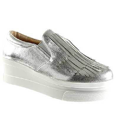 Angkorly - Chaussure Mode Mocassin Slip-on Plateforme Femme Frange Verni Talon compensé Plateforme 5.5 CM - Argent - 929-1 T 38