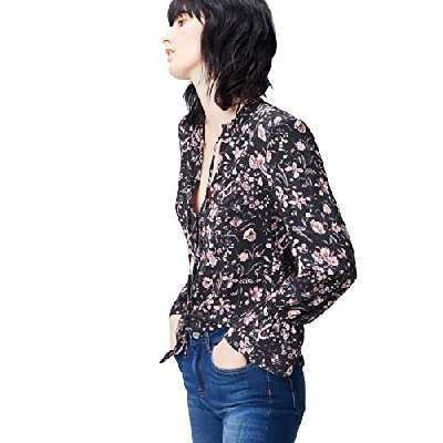 find. Ruffle Neck Blouse Femme, Noir (Black Mix), 38 (Taille Fabricant: Small)
