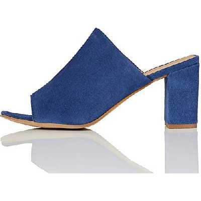 find. Mules Talons Carrés Hauts Femme, Bleu (Blue), 37 EU