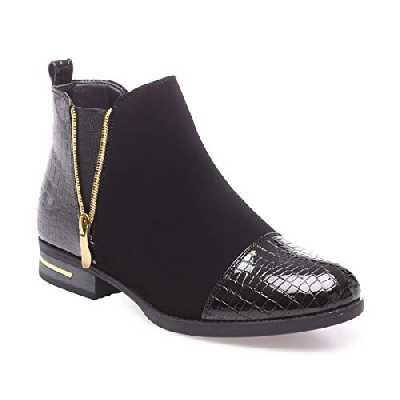 La Modeuse - Boots bi-matière en smili Cuir avec empiècements Vernis Effet Croco sur Le Talon et sur Le Bout Arrondi