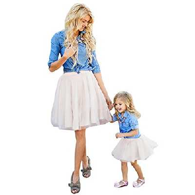 Minetom Mère et Fille Gamins Denim T-Shirt Tops + Jupe Costume de Vêtements de Famille Set Robe de Soirée Bleu-Blanc 110 (Fille)