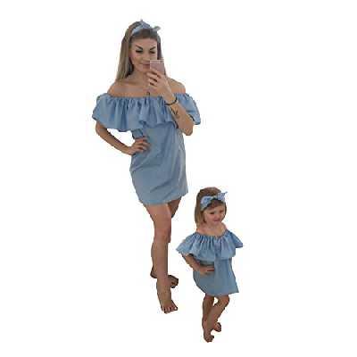 Tomsent Mère et Bébé Fille Col Bateau sans Bretelles Manche Courte Mini Princesse Robe Famille Ensemble Robe de Soirée Bleu Clair FR 42 (Maman)