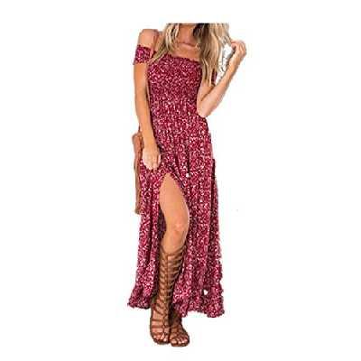 Yidarton Femme Robe Longue Ete Boheme Chic Maxi Robe de Plage Soirée Casual Imprimé Fleurie Mode Fendue Col Bateau Épaules Dénudées Rouge 38-40 / M