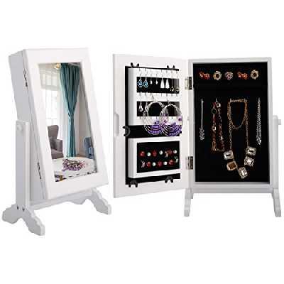 Armoire à bijoux avec miroir Costway - Pour bagues, boucles d'oreille et bracelets