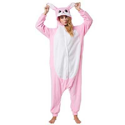 Katara 1744 - Grenouillère Combinaison pour Adultes Tenue de Nuit Pyjama Kigurumi - Taille L 165-175cm Lapin