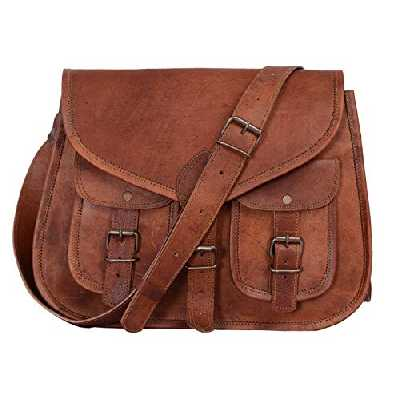 Komal's Passion Leather KPL Sac à main en cuir véritable pour femme 35,6 cm, sac fourre-tout, sac en bandoulière (Brown)