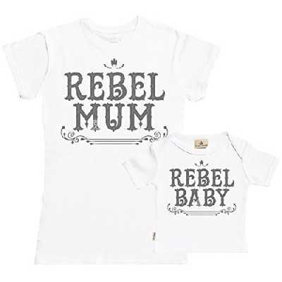 Spoilt Rotten SR - dans Une boîte Cadeau - Rebel Mum & Rebel Baby bébé T-Shirt pour Femme - Maman t-Shirt - Cadeau mère & bébé T-Shirt - Blanc - M & 0-6M